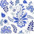 Blue vector floral elements in Russian gzhel style